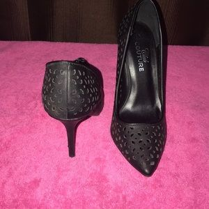 Club Couture   Lazer Cut Faux Leather Heels